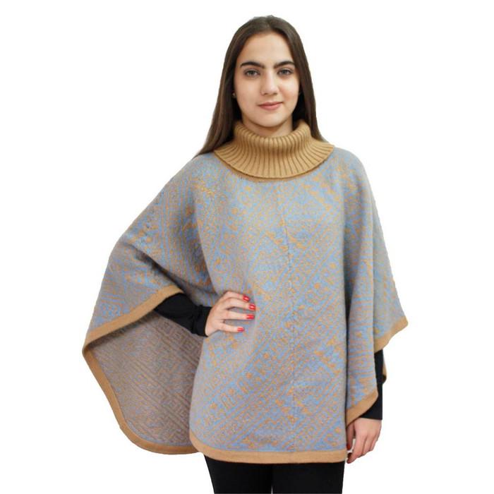 Alpaca Wool Turtleneck Knit Poncho One Size Tan & Soft Blue
