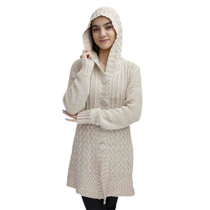 Womens Superfine Alpaca Wool Hooded Coat Size M Beige