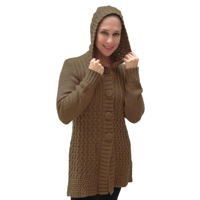 Womens Superfine Alpaca Wool Hooded Coat Size XL Camel