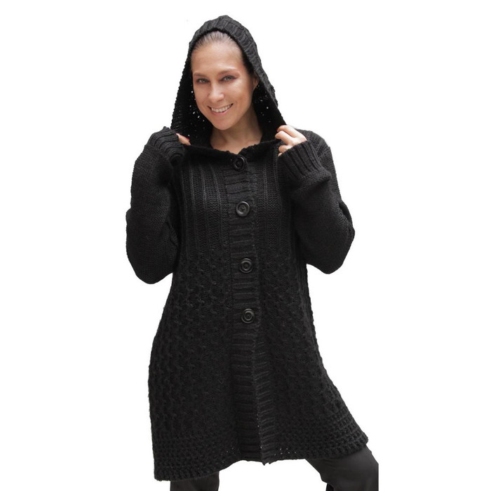 Womens Superfine Alpaca Wool Hooded Coat Size M Black