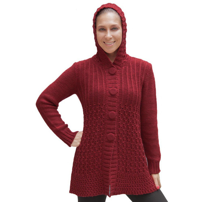Womens Superfine Alpaca Wool Hooded Coat Size M Red
