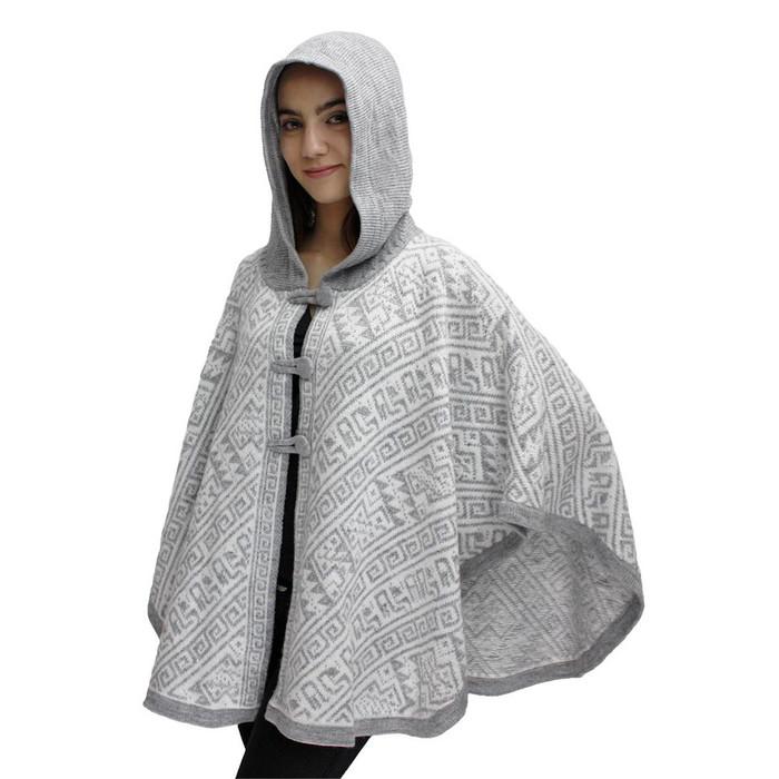 Hooded Alpaca Wool Womens Knit Cape One Size Silver Gray & Ivory (17K-068-013)