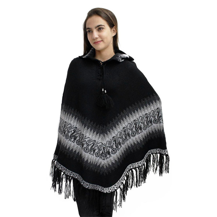 Little Llamas Alpaca Wool Knit Long Poncho With Collar One Size Black