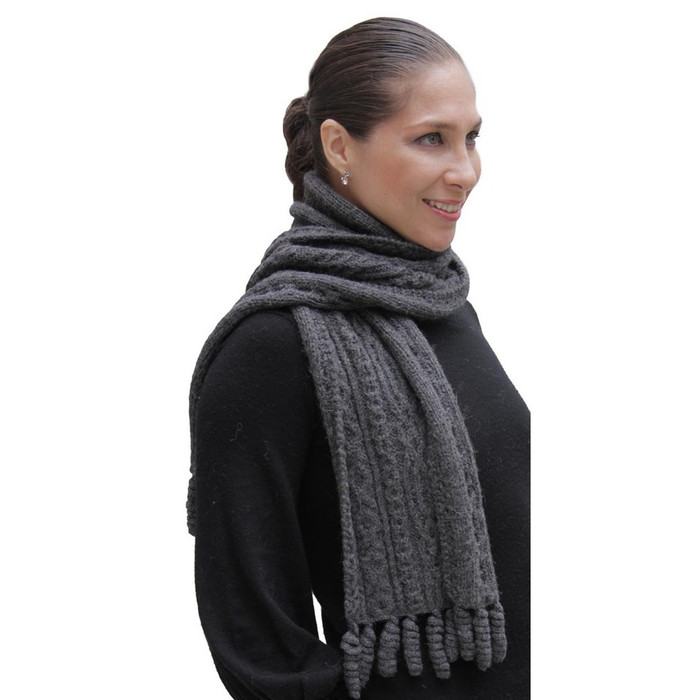 Chunky Superfine Handknitted Alpaca Scarf Charcoal Gray (06-040-12101)