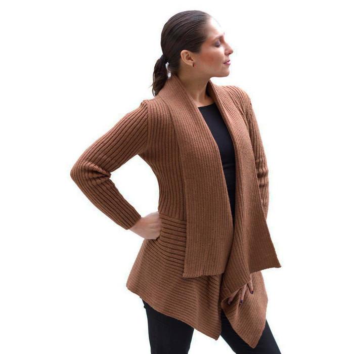 Women's Alpaca Wool Coat SZ M Camel