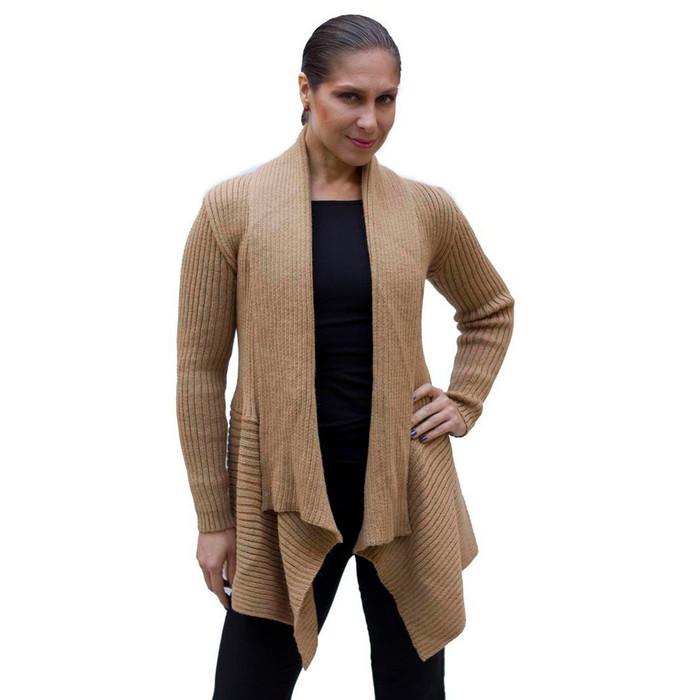 Women's Alpaca Wool Coat SZ M Tan