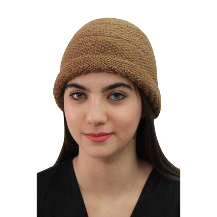 Superfine Hand Knitted Alpaca Wool Hat Camel