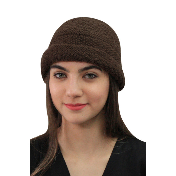Superfine Hand Knitted Alpaca Wool Hat Brown