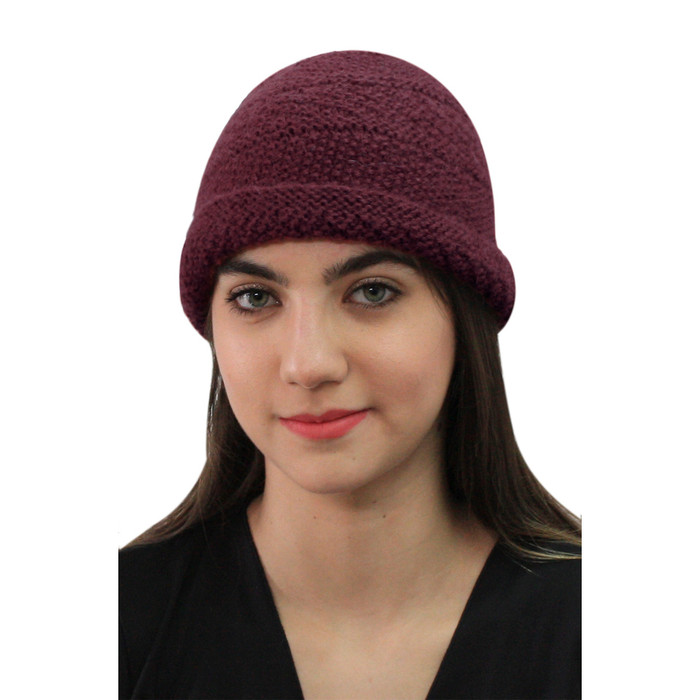 Superfine Hand Knitted Alpaca Wool Hat Burgundy