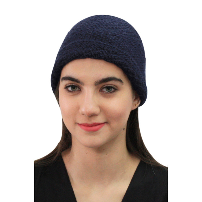 Superfine Hand Knitted Alpaca Wool Hat Navy Blue