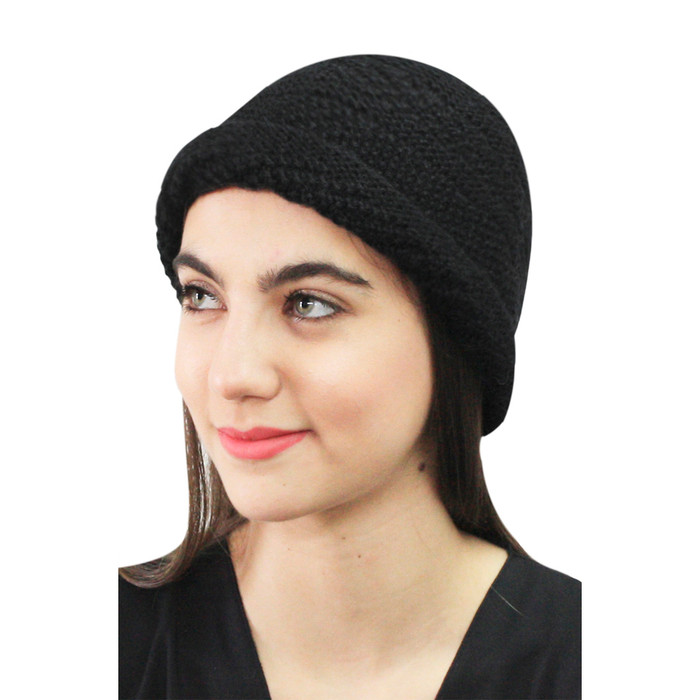 Superfine Hand Knitted Alpaca Wool Hat Black