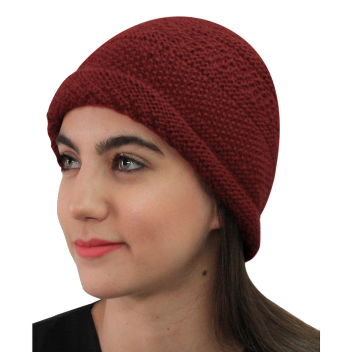 Superfine Hand Knitted Alpaca Wool Hat Red