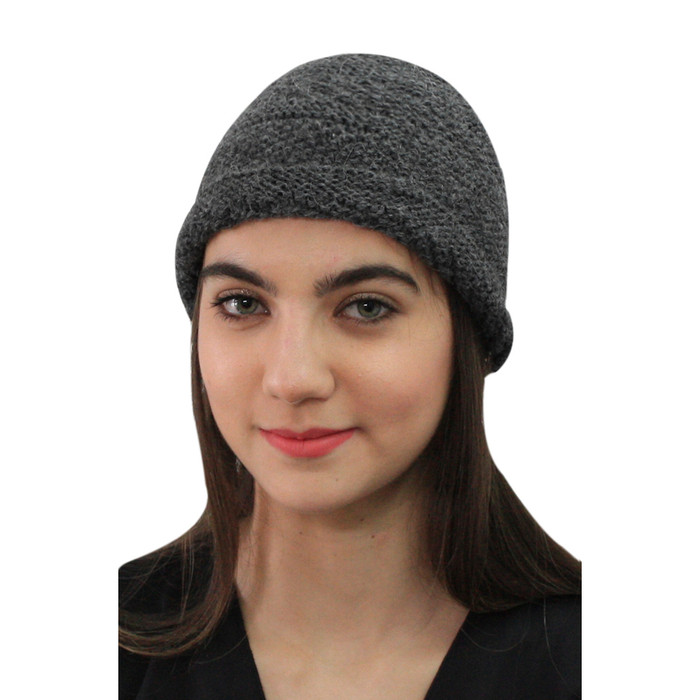 Superfine Hand Knitted Alpaca Wool Hat Charcoal Gray (65M-040-407)