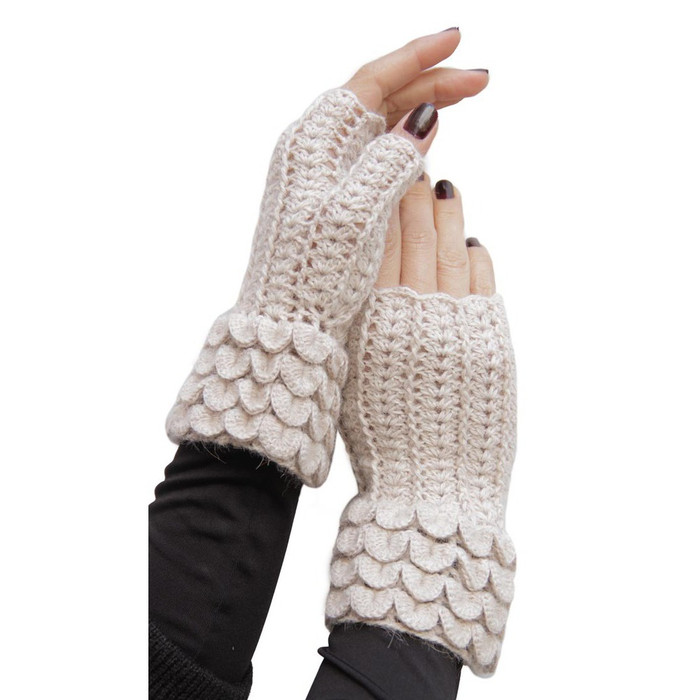 Superfine Alpaca Wool Crochet Knitted Fingerless Gloves Mittens