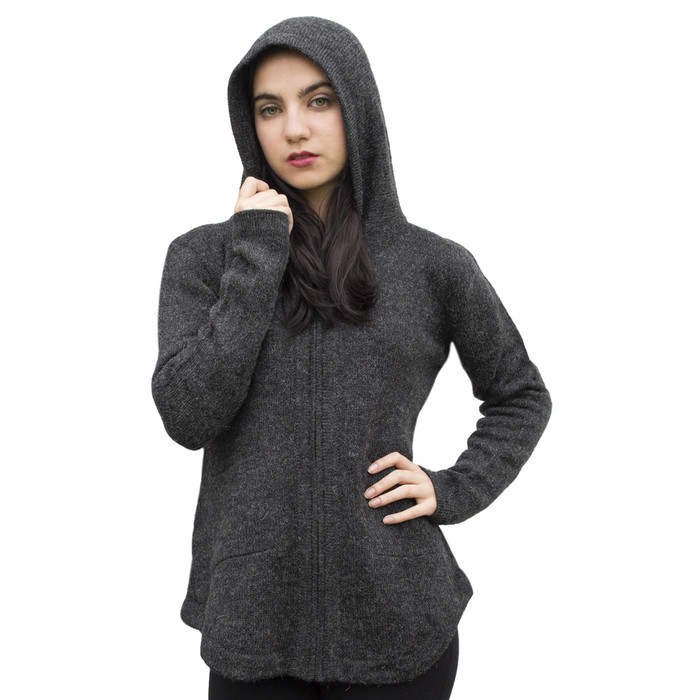 Womens Hooded Alpaca Wool Shaped Jacket SZ S Charcoal Gray (14M-040-499S)