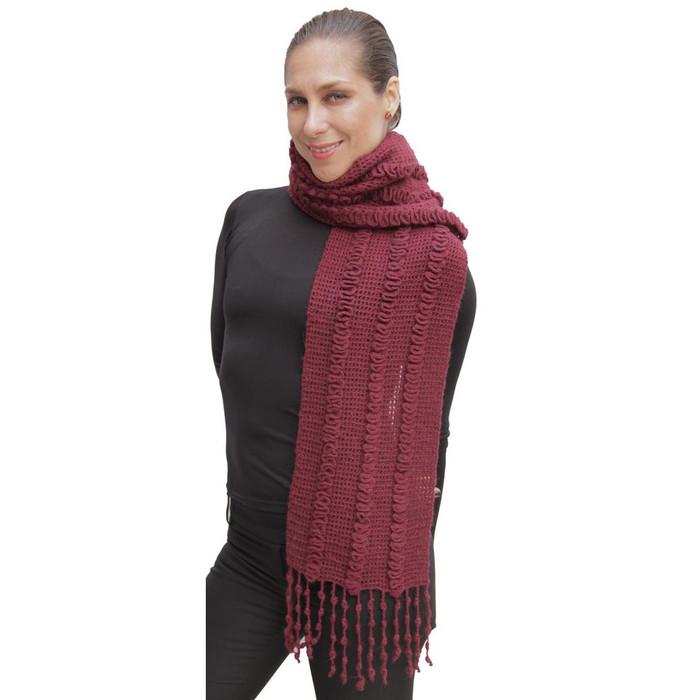 Superfine Alpaca & Merino Wool Handknit Scarf Burgundy