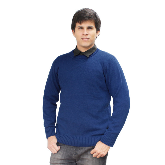 Mens Soft And Warm Alpaca Wool Knitted Crewneck Solid Sweater