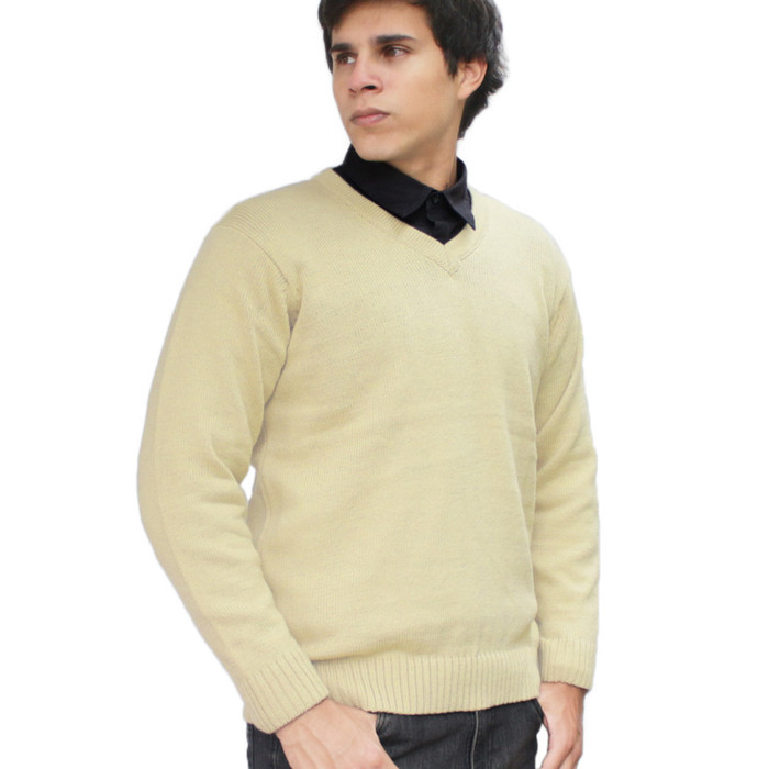 Mens Soft And Warm Alpaca Wool Knitted V-Neck Solid Sweater