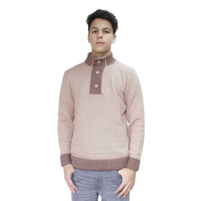 Mens Soft And Warm Alpaca Wool Knitted Sweater Three Buttons Collar Matching Colors Design