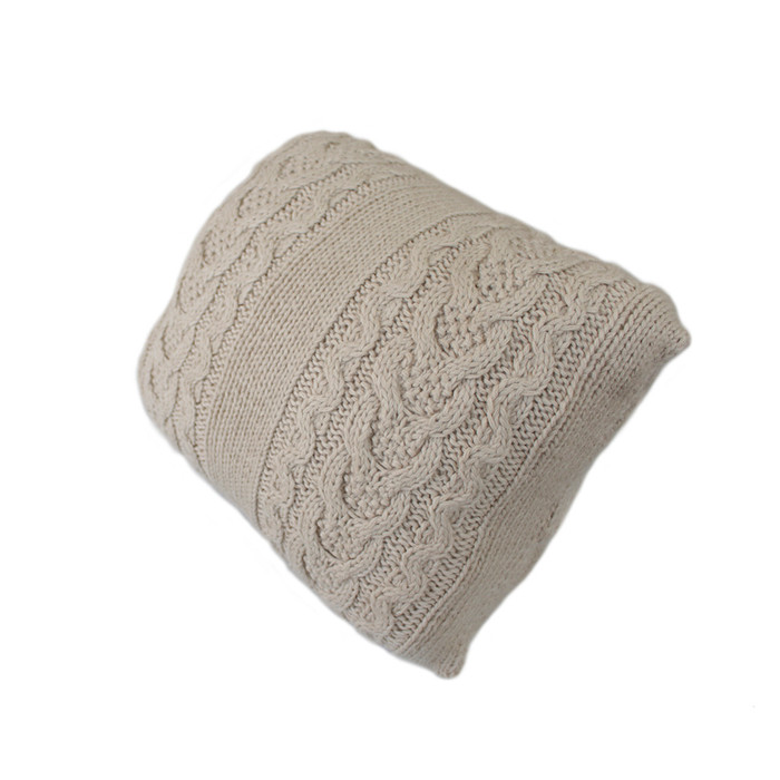 Hand knitted Superfine Alpaca Wool Decorative Double Cable Throw Pillow Cover Home Cushion Case
