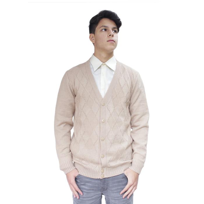 Mens Soft Alpaca Wool Knitted V Neck Golf Cardigan Sweater Button Down Diamond Design