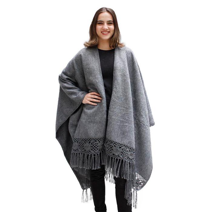 Womens Woven Alpaca Ruana Cape Rose Crochet Edge One Size
