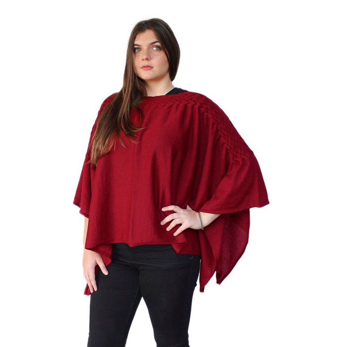 Women's Authentic 100% Baby Alpaca Wool Knitted Braided Poncho Cape