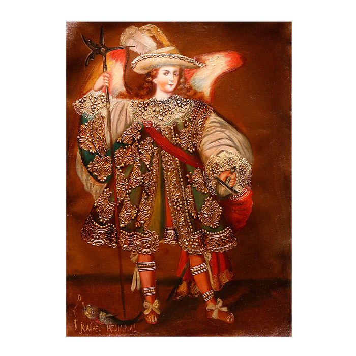 "Archangel Raphael Medicine Of God Original Peru Folk Art Oil Painting On Canvas   16"" x 12"""