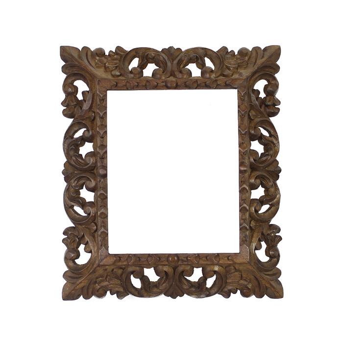 "Cedar Wood Frame Handmade Handcarved Design - 15""H x 13""W  (87Q-014-003)"
