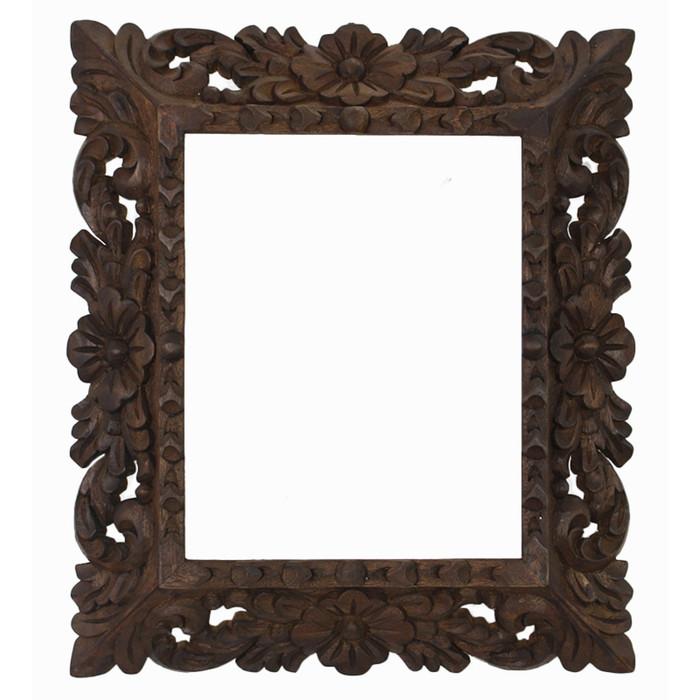 "Cedar Wood Frame Handmade Handcarved Design - 15""H x 13""W (87H-014-003)"