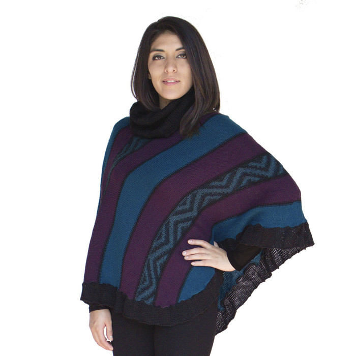 Women's Alpaca Wool Knit Yarn Poncho Cape Coat - Andes Design