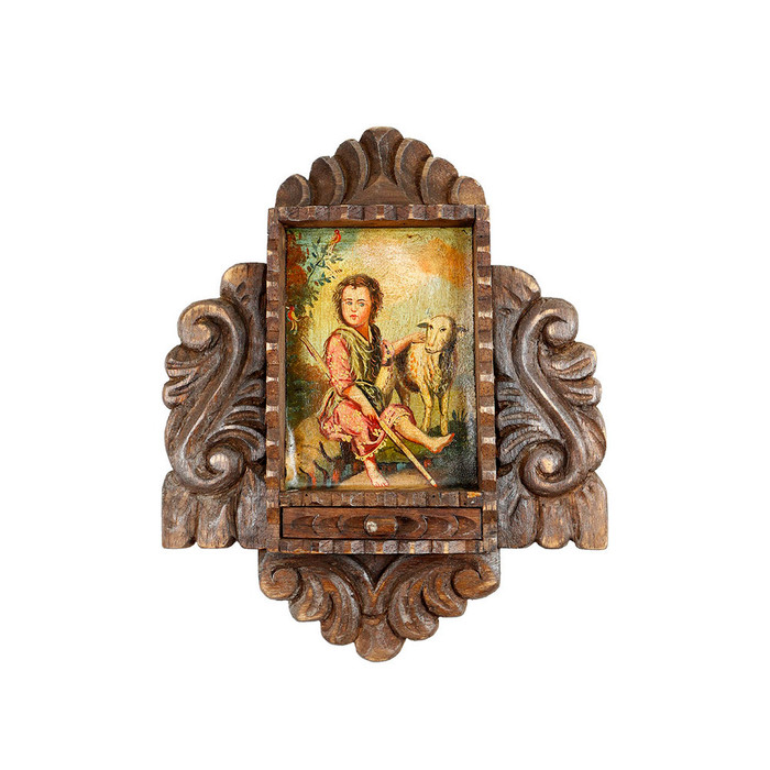 Young St John Colonial Cuzco Peru Handmade Wood Retablo Art Framed Oil Painting