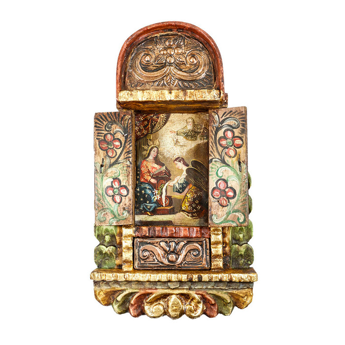 The Annunciation Colonial Cuzco Peru Handmade Wood Retablo Framed Oil Painting
