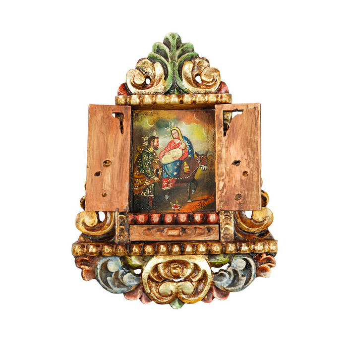 Flight From Egypt - Colonial Cuzco Peru Handmade Retablo Folk Art Framed Oil Painting on Canvas Hand Carved Wood Altarpiece 04461