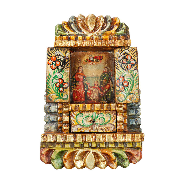 Sacred Family - Colonial Cuzco Peru Handmade Retablo Folk Art Framed Oil Painting on Canvas Hand Carved Wood Altarpiece 04485
