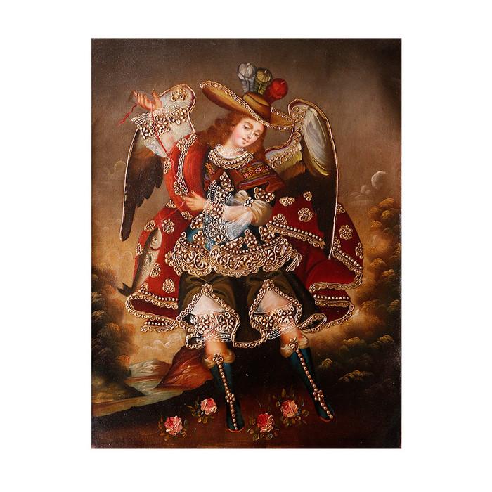 "Archangel Raphael Original Colonial Cuzco Peru Folk Art Oil Painting On Canvas 16"" x 12"" (30-100-07309)"