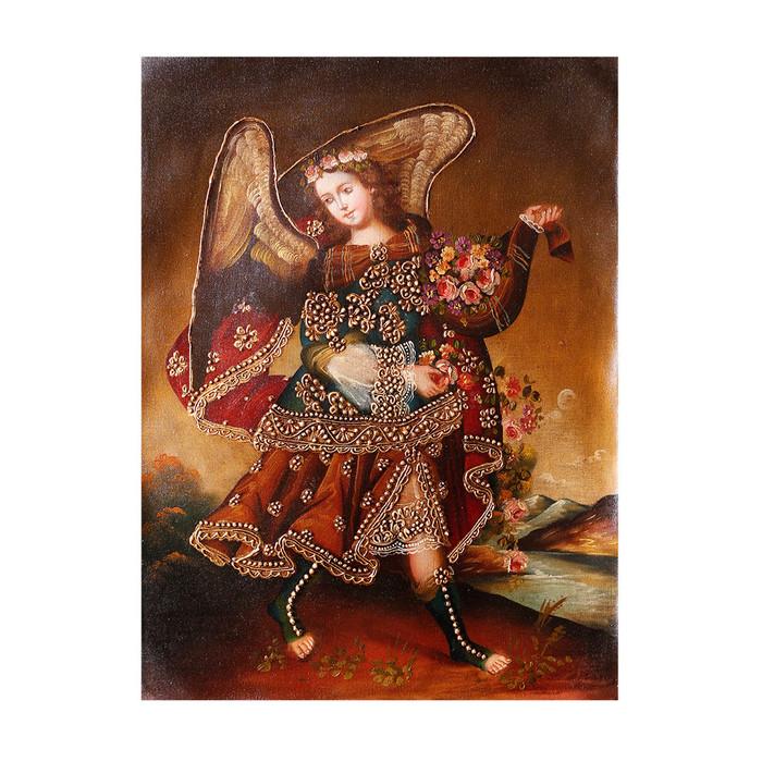 "Archangel Barachiel Original Colonial Cuzco Peru Folk Art Oil Painting On Canvas 16"" x 12"" (30-100-07313)"
