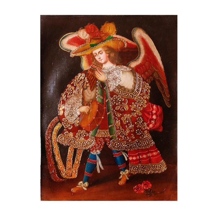 "Musicial Archangel Original Colonial Cuzco Peru Folk Art Oil Painting On Canvas 16"" x 12"" (30-100-07337)"