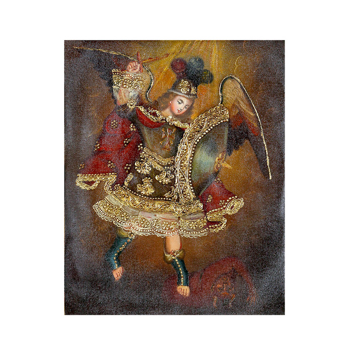 "Archangel Michael Original Colonial Cuzco Peru Folk Art Oil Painting On Canvas 10"" x 8"" (30-100-07222)"