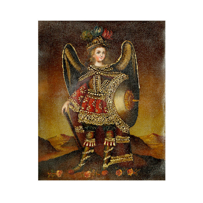 "Archangel Michael Original Colonial Cuzco Peru Folk Art Oil Painting On Canvas 10"" x 8"" (30-100-07235)"