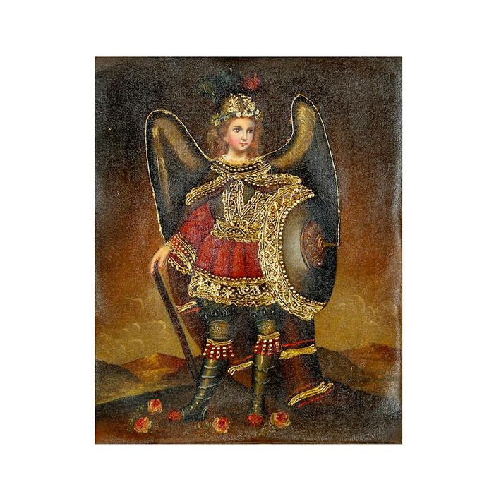 "Archangel Michael Original Colonial Cuzco Peru Folk Art Oil Painting On Canvas 10"" x 8"" (30-100-07236)"