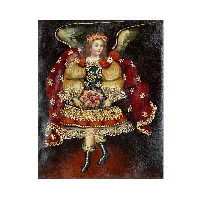 """Archangel Gabriel Original Colonial Cuzco Peru Folk Art Oil Painting On Canvas 10"""" x 8"""" (30-100-07253)"""