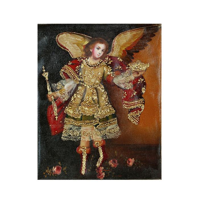 """Archangel Gabriel Original Colonial Cuzco Peru Folk Art Oil Painting On Canvas 10"""" x 8"""" (30-100-07246)"""