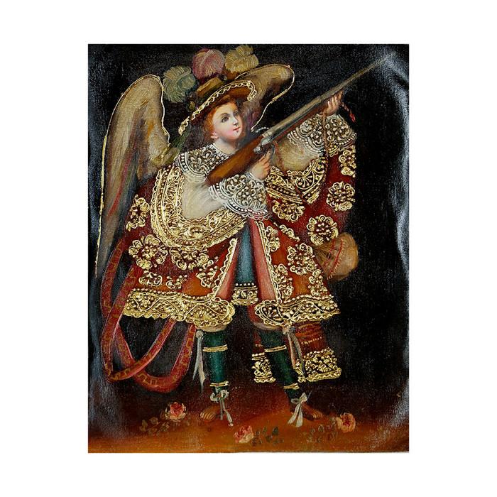 "Military Archangel Original Colonial Cuzco Peru Folk Art Oil Painting On Canvas 10"" x 8"" (30-100-07245)"