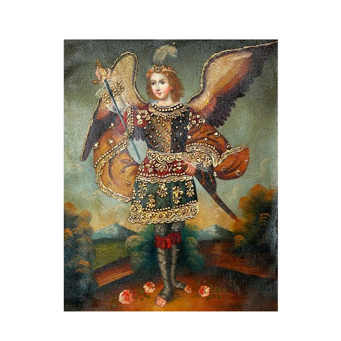 """Archangel Adriel Original Colonial Cuzco Peru Folk Art Oil Painting On Canvas 10"""" x 8"""" (30-100-07263)"""