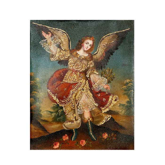 "Archangel Ariel Original Colonial Cuzco Peru Folk Art Oil Painting On Canvas 10"" x 8"" (30-100-07266)"