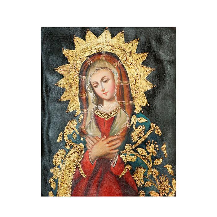 "Andes Madonna Original Colonial Cuzco Peru Folk Art Oil Painting On Canvas 10"" x 8"" (30-100-07279)"