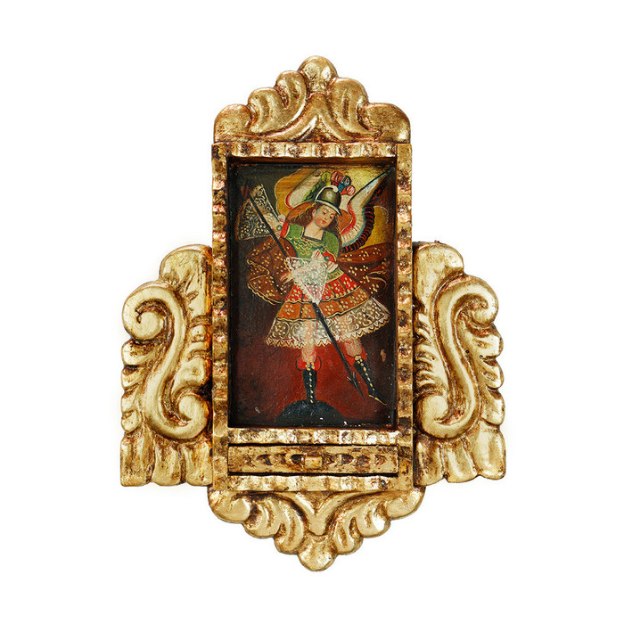 Archangel Michael Colonial Peru Handmade Retablo Religious Handcarved Altarpiece (71-021-04523)