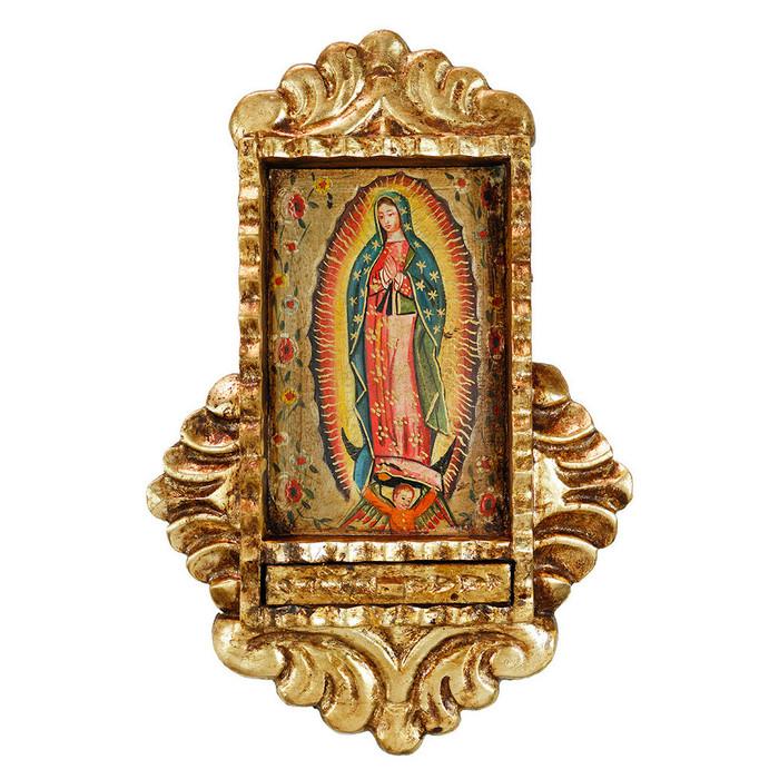 Guadalupe Virgin Colonial Peru Handmade Retablo Religious Handcarved Altarpiece (71-021-04525)