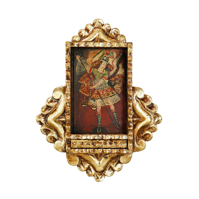 Archangel Michael Colonial Peru Handmade Retablo Religious Handcarved Altarpiece (71-021-04528)